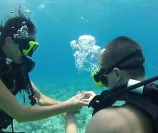 Underwater Proposal While Scuba Diving