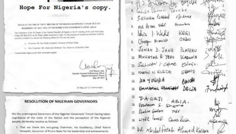 """The Governor Jang Lead Nigerian Governors Forum has once again Released the names of Governors that Voted the Plateau state governor and reaffirmed it with their signatures. """"We have 19 Governors"""", they claimed that Governor Amaechi used his staff at the Governors Forum Secretariat to Change their ballot to his pre-Marked ones. Amaechi was also accused of refusing to back down from conducting an election that he is going to be a candidate. He Refused the governors demand that the Ballot papers MUST be serial numbered to avoid them being changed after voting. The Jang Lead Governors Have advised Amaechi and co to call their own Meeting and let Nigerian see who actually voted for him or he should shut up for good. Governor Jang resumed office as the New Governors' Forum Chairman, two weeks ago. - Hope For Nigeria."""