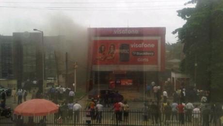 Fire Guts Visafone Office