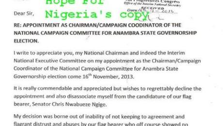 APC Anambra Governorship Campaign Coordinator Resigns