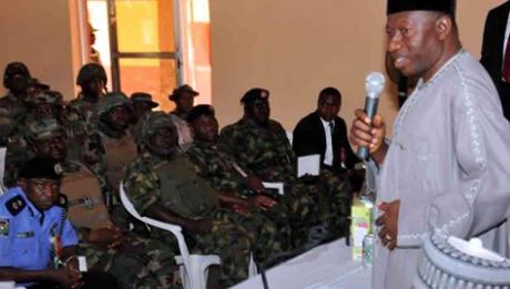 President Jonathan Visits The Troops In Mubi And Baga