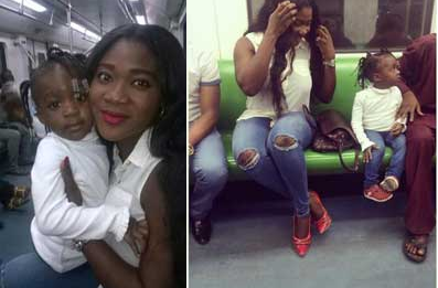 Nollywood's Mercy Johnson, Daughter Avoid Lagos Traffic By Riding GEJ's Train