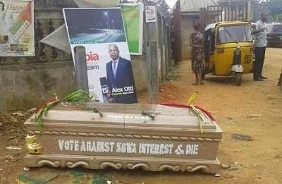 Caskets Litter in Aba Street Cause Fear in Voters
