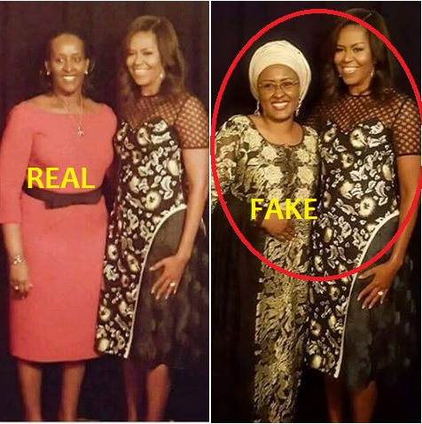 BUSTED Again!!! Aisha Buhari Did Not Meet Obama's Wife in USA, It Was a Photoshop (See Proof)