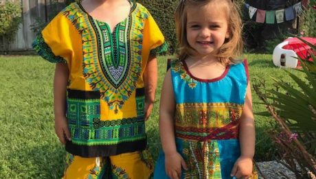 American Woman's Kids Wear Nigerian Outfits