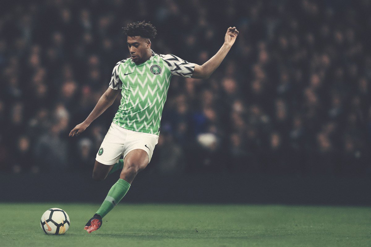 Alex Iwobi wearing the new Super Eagles' jersey