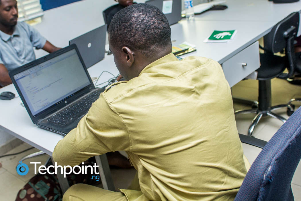 Man working with a computer