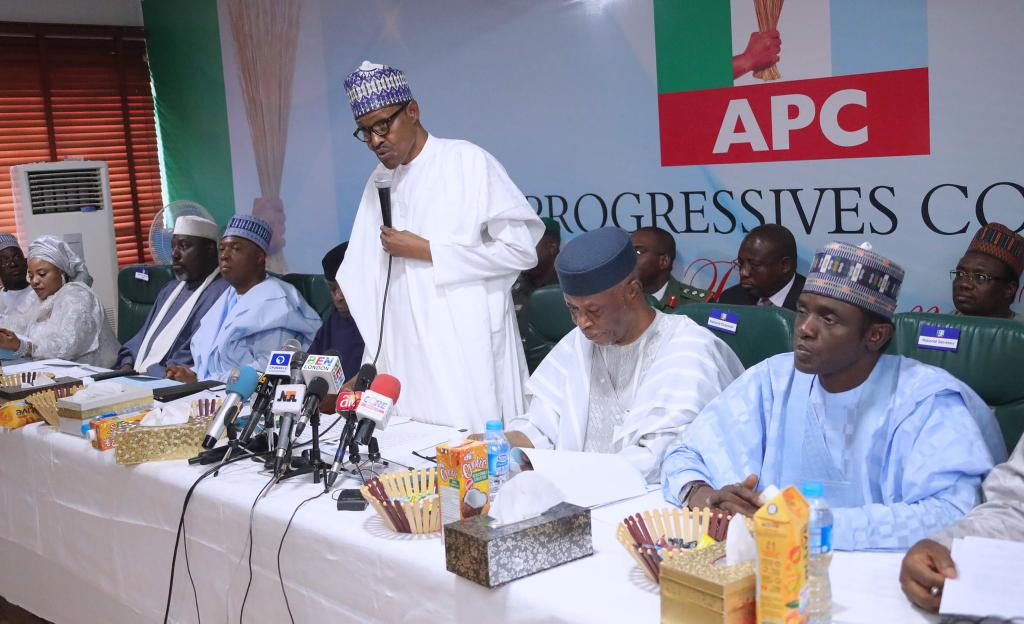 President Buhari announcing intentions to run for second term