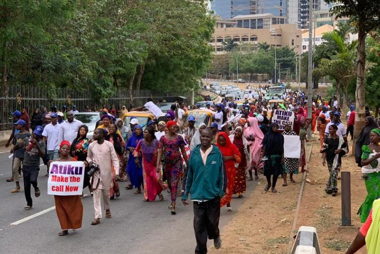 Hope For Nigeria Hundreds Of Women Storm Abuja, Beg Atiku