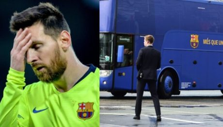 Barcelona Team Bus Leaves Lionel Messi At Anfield After Liverpool Defeat