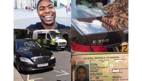 The 32-year-old Nigerian man who destroyed 5 embassy cars in London, yesterday, has been arrested by the police.
