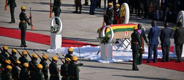 supporters bid farewell to Zimbabwe's Mugabe