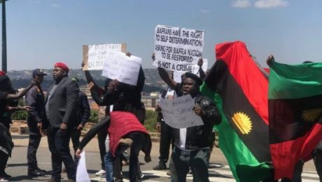IPOB Protesters Shot & Tear Gassed As Buhari Visits South Africa