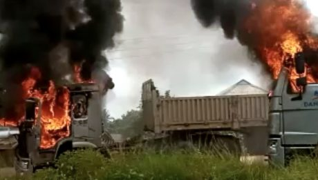 Dangote trucks set ablaze as okada riders clash escalates